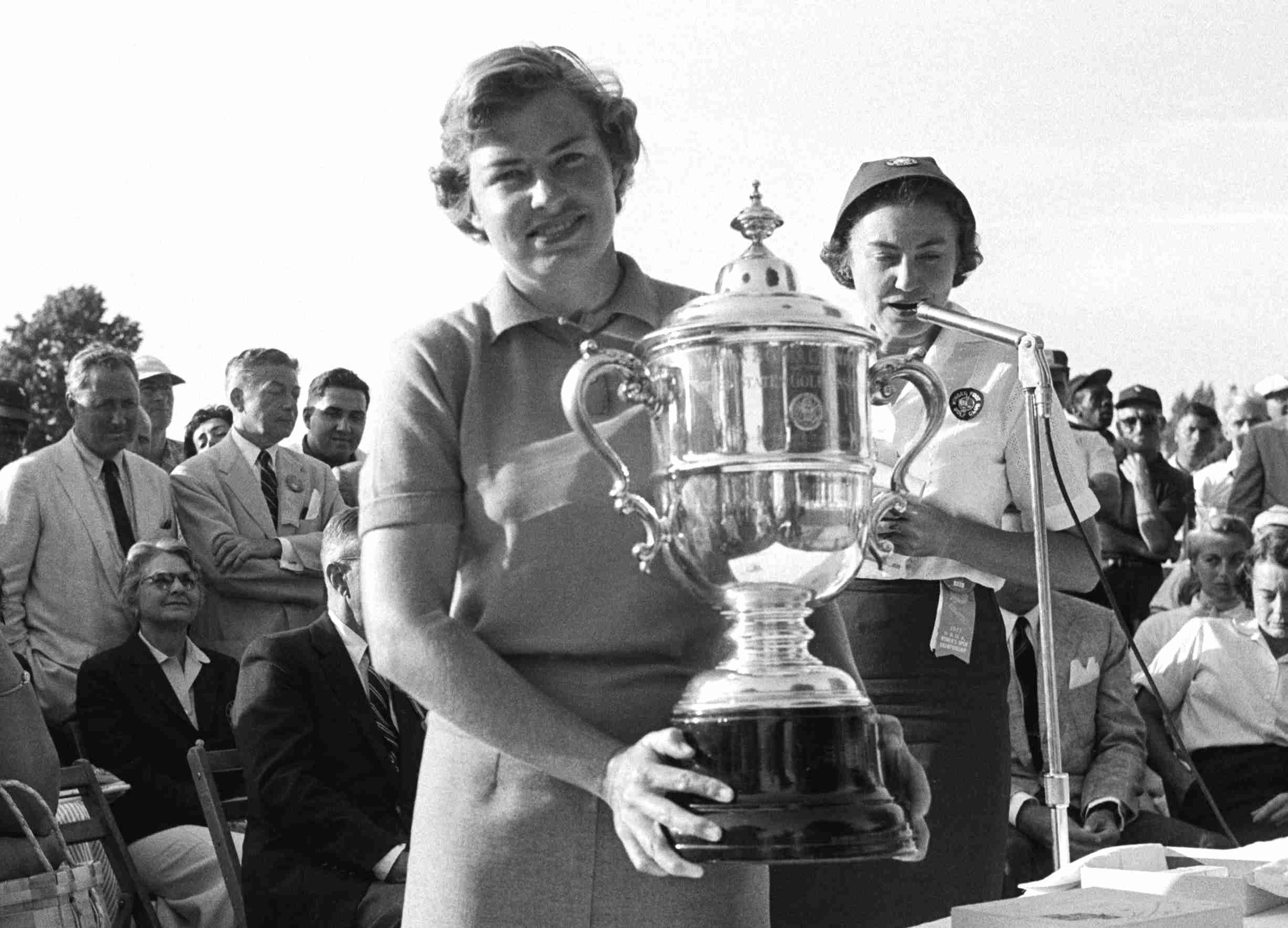 Betsy Rawls with the trophy after winning the 1957 US Women's Open.
