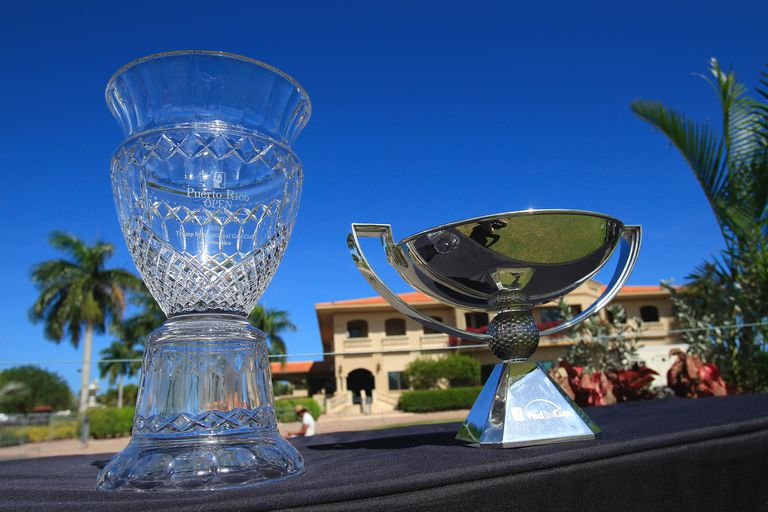 Puerto Rico Open trophy and FedEx Cup trophy