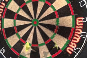 """Dart board showing the opening three shots of the """"Around the Clock"""" dart game"""