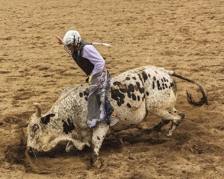 Galisteo Rodeo, bull rider, Sant Fe, New Mexico, USA