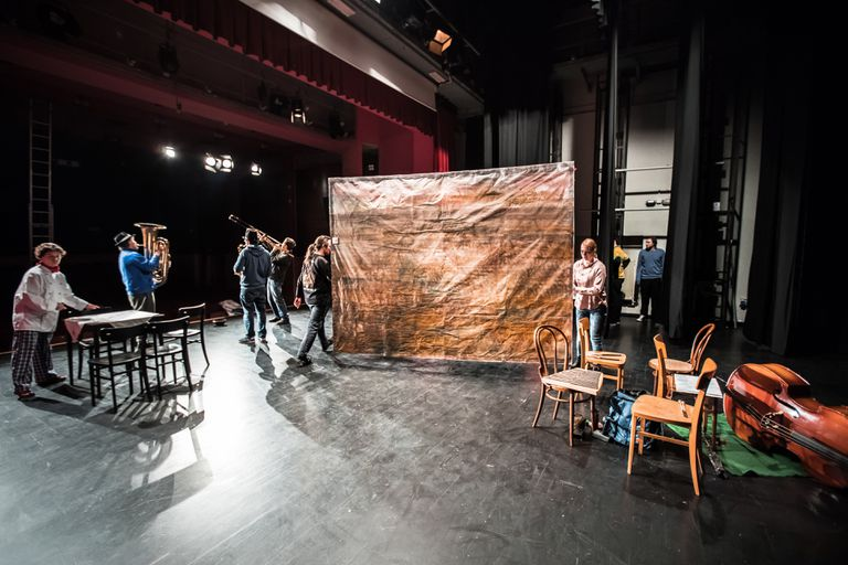 Preparing Scenography On Theater Stage