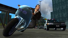 In-game character riding a motorcycle in Grand Theft Auto: Liberty City Stories
