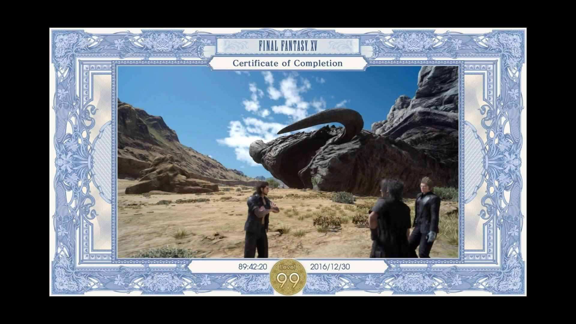FFXV Certificate of Completion with the defeated Adamantoise.