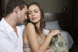 Couple in hotel room