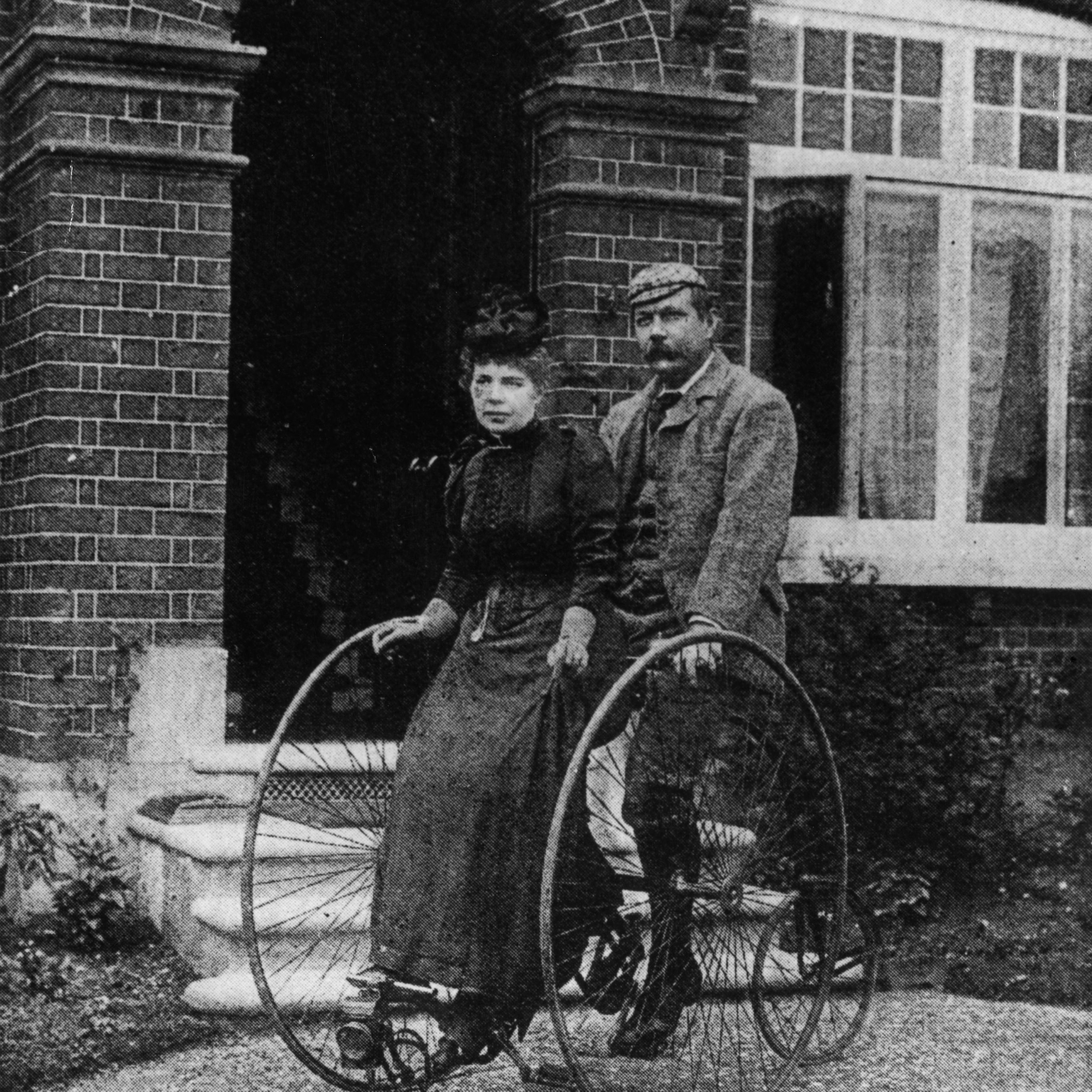 Arthur Conan Doyle and wife on tandem bike