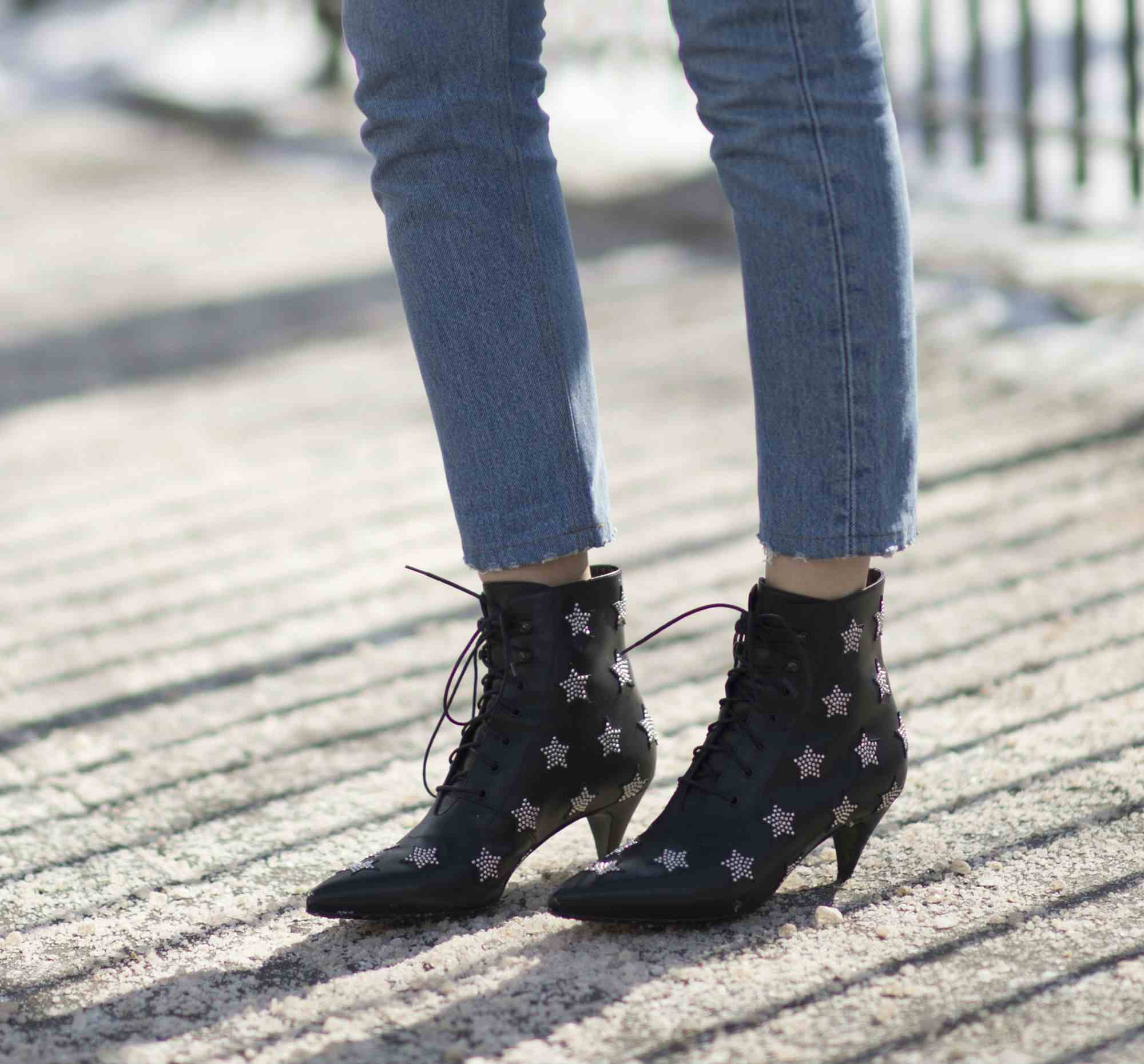 Raw hem jeans and ankle boots