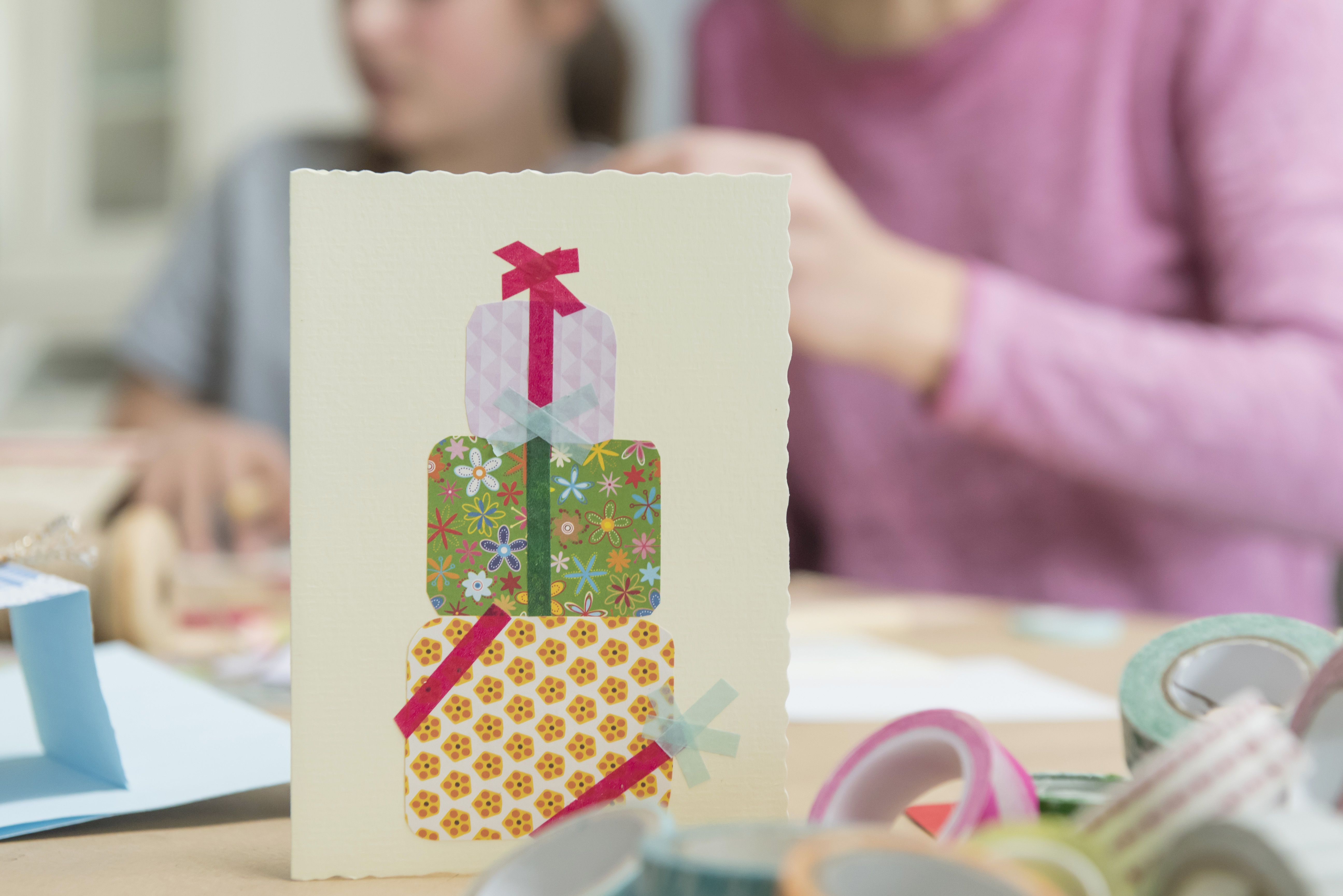 Birthday card with people in background