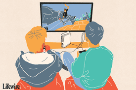 Illustration of two people playing Skate 3