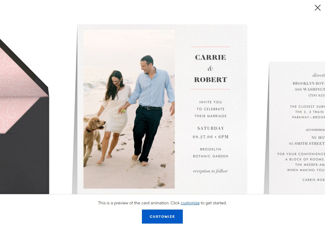 A virtual wedding invite with a couple and their dog