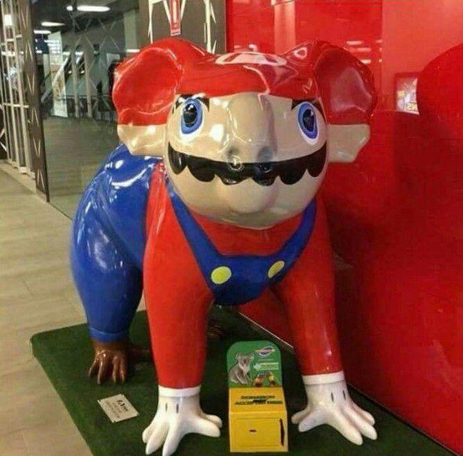 Australian Koala statue painted to look like Mario