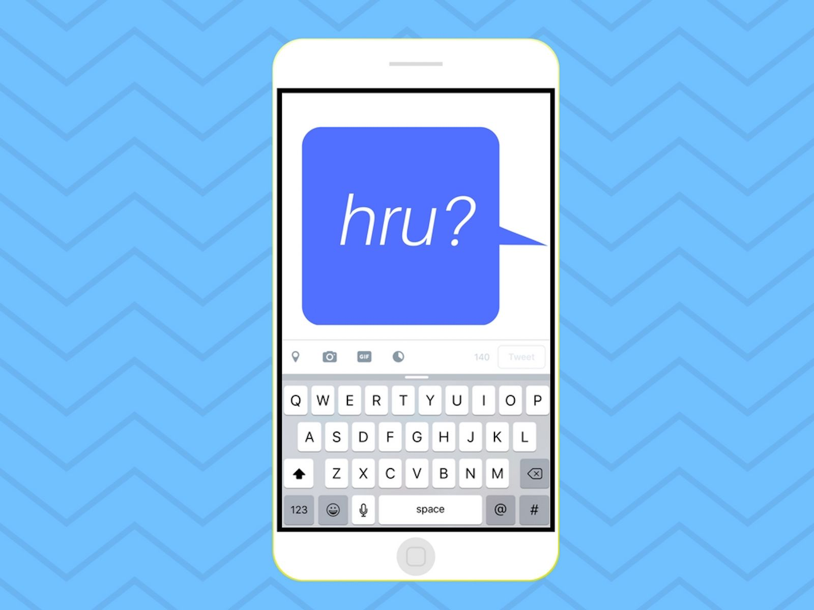 Illustration of HRU in a message bubble on an iPhone.