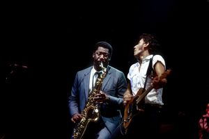 Bruce Springsteen and saxophonist Clarence Clemons perform with the E Street Band in 1980 in Detroit, Michigan.