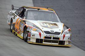 The UPS car races in a NASCAR race