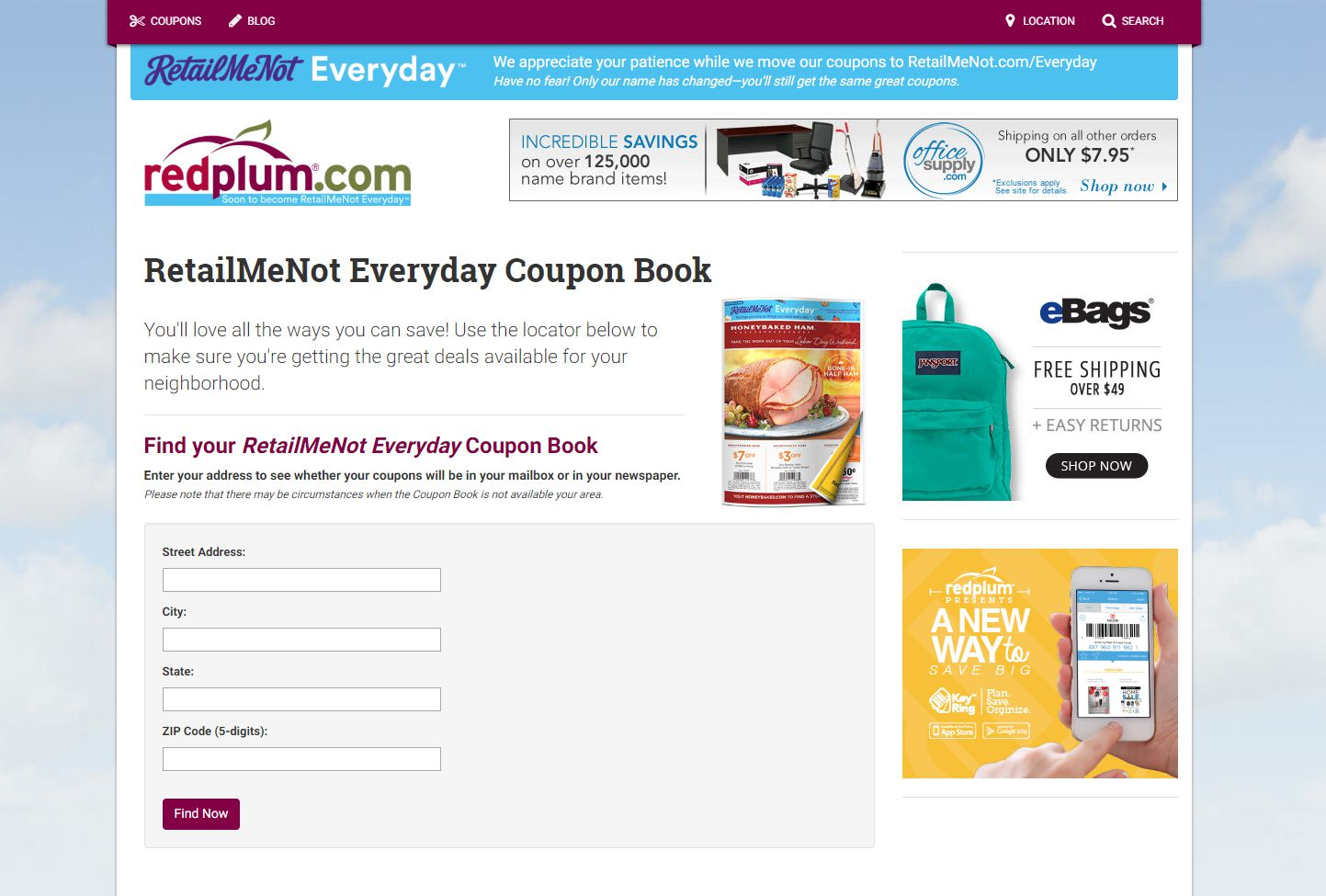 The form to request a free coupon book
