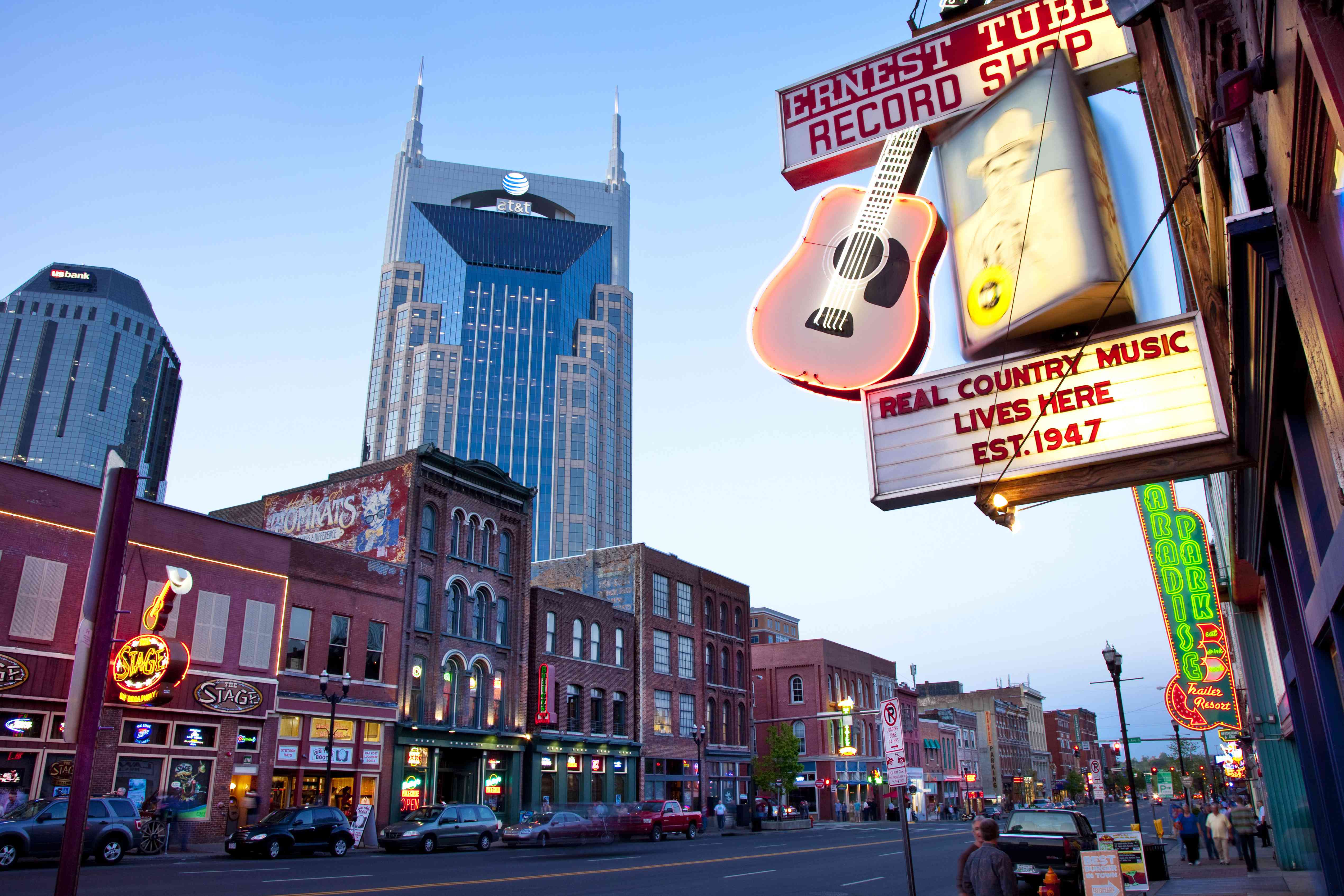 ATandT building towers over historic buildings of lower Broadway, Nashville, Tennessee, USA