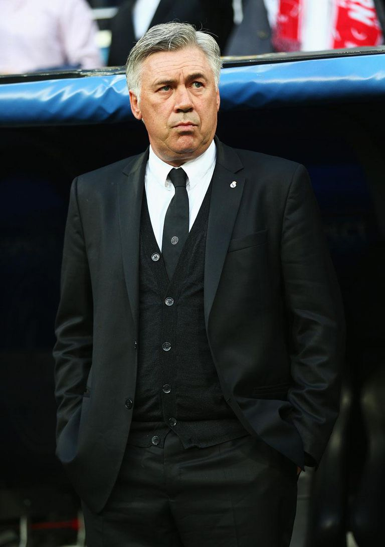 MADRID, SPAIN - APRIL 23: Carlo Ancelotti, coach of Real Madrid looks on during the UEFA Champions League semi-final first leg match between Real Madrid and FC Bayern Muenchen at the Estadio Santiago Bernabeu on April 23, 2014 in Madrid, Spain.