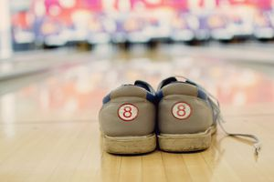 Bowling shoes with reflections