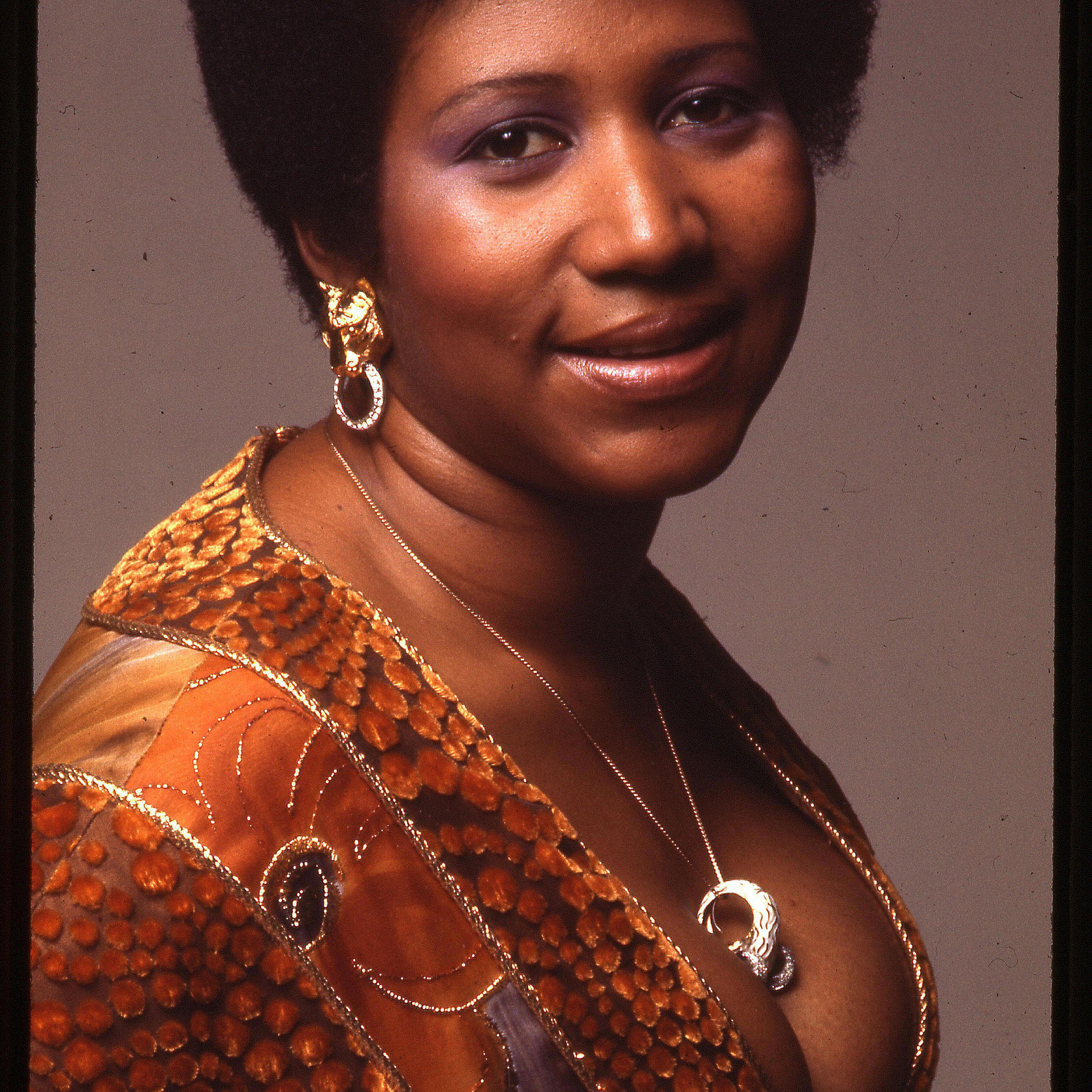 Portrait of Aretha Franklin.