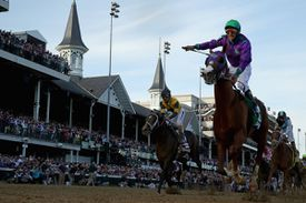 Low view of a race during the Kentucky Derby