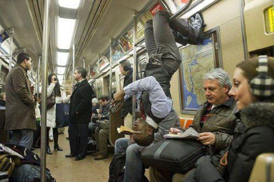 upside down on subway