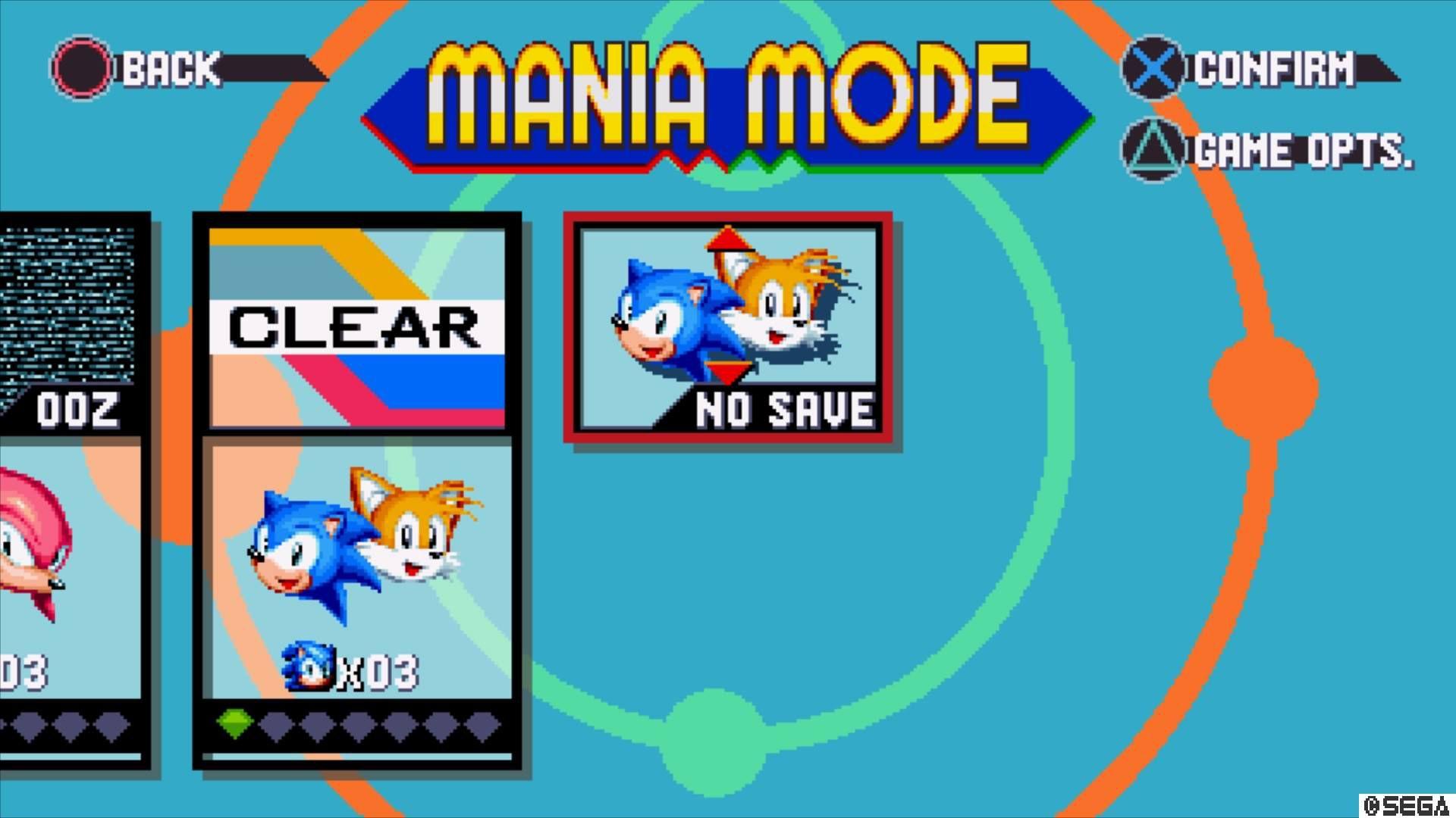 From the Mania mode menu, highlight No Save.