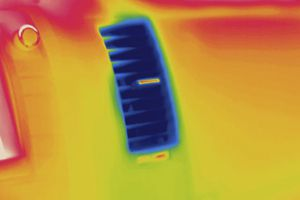 Thermogram of a vent inside a car with the air conditioning on