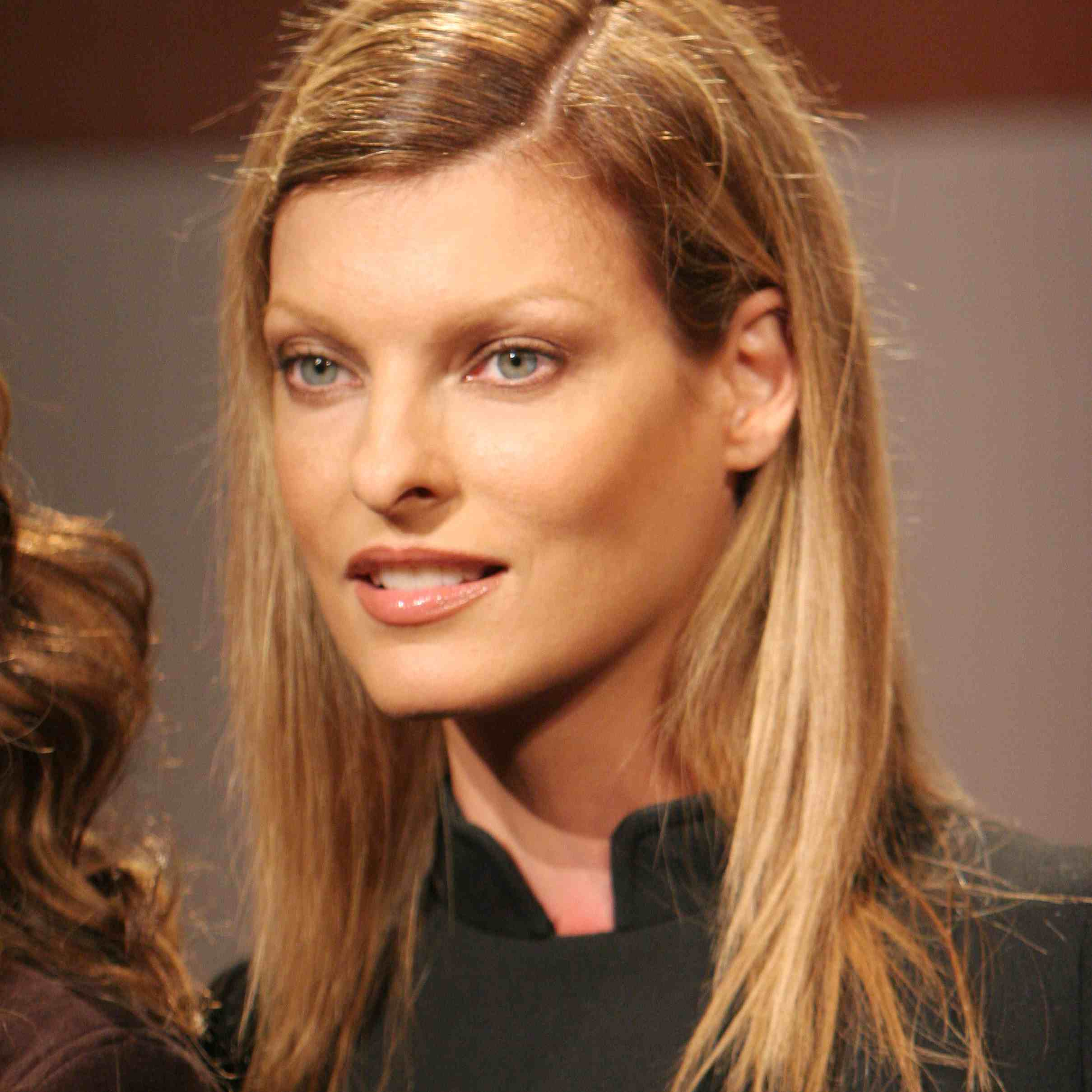 Linda Evangelista during Olympus Fashion Week Spring 2006 - 'Fashion For Relief' Press Conference at Bryant Park in New York City, New York, United States.