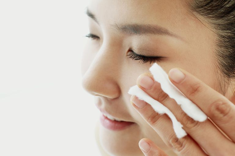 Gently remove eye makeup with a cotton pad or soft cloth or tissue.