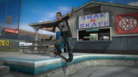 A skater balances on a curb in Tony Hawk's Project 8