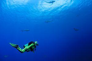 scuba diver making a stop