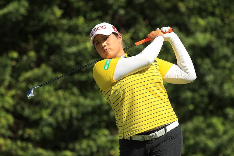 Ariya Jutanugarn plays a shot during the 2018 CME Group Tour Championship.