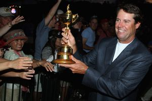 USA team captain Paul Azinger shares the Ryder Cup with fans after his team's 16 1/2-11 1/2 victory on the final day of the 2008 Ryder Cup at Valhalla Golf Club on September 21, 2008