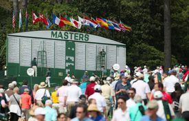 General view of a Masters scoreboard at Augusta National