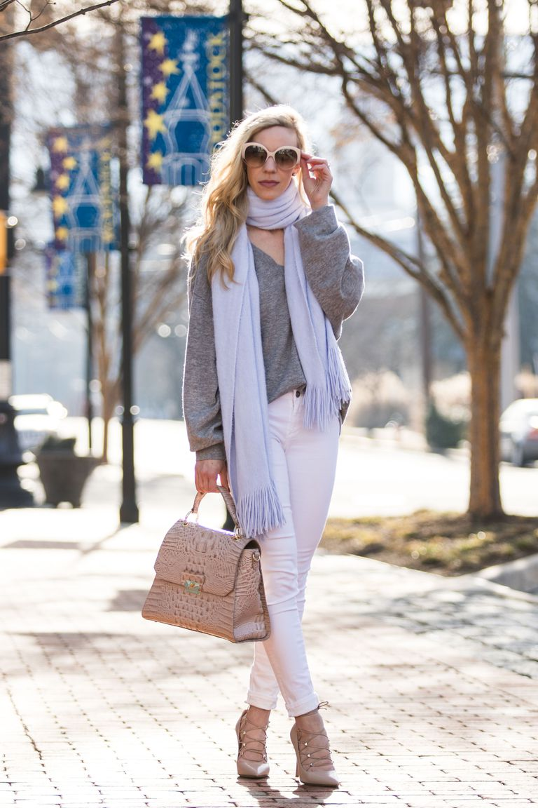 dc77ac5db50 Fall Outfit With White Jeans and a Big Scarf
