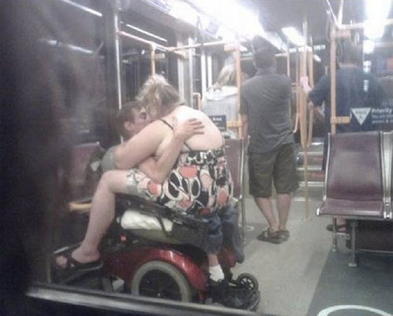 two people making out on subway