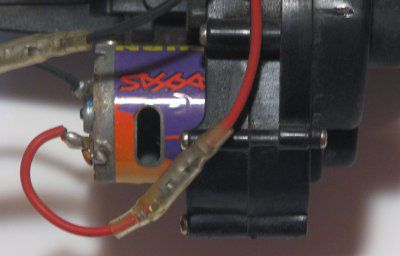 Electric motor on back of a Traxxas Rustler