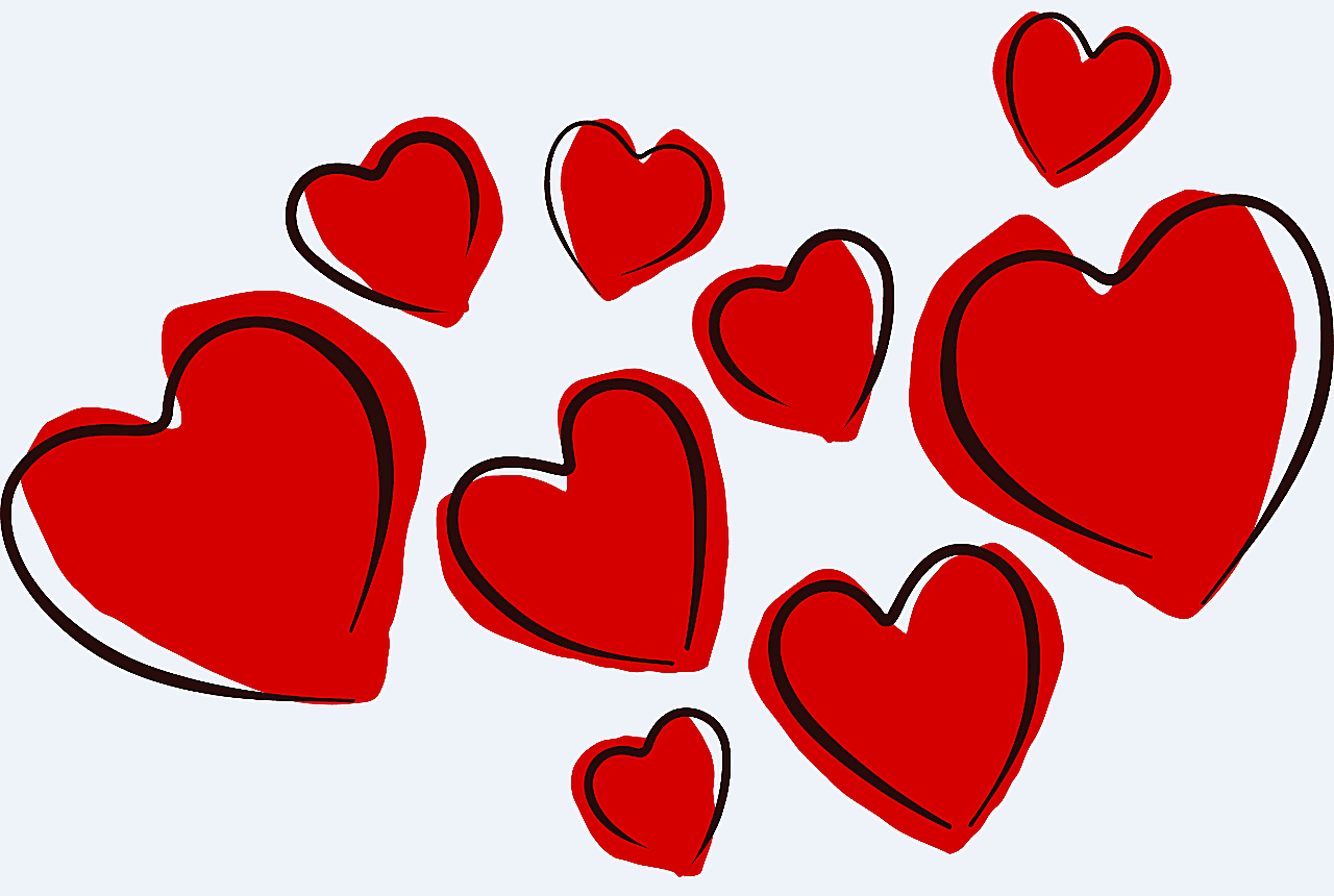 Screenshot of a collection of red heart sketches