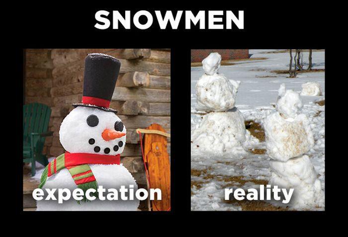 Expectations vs Reality Meme: Snowmen