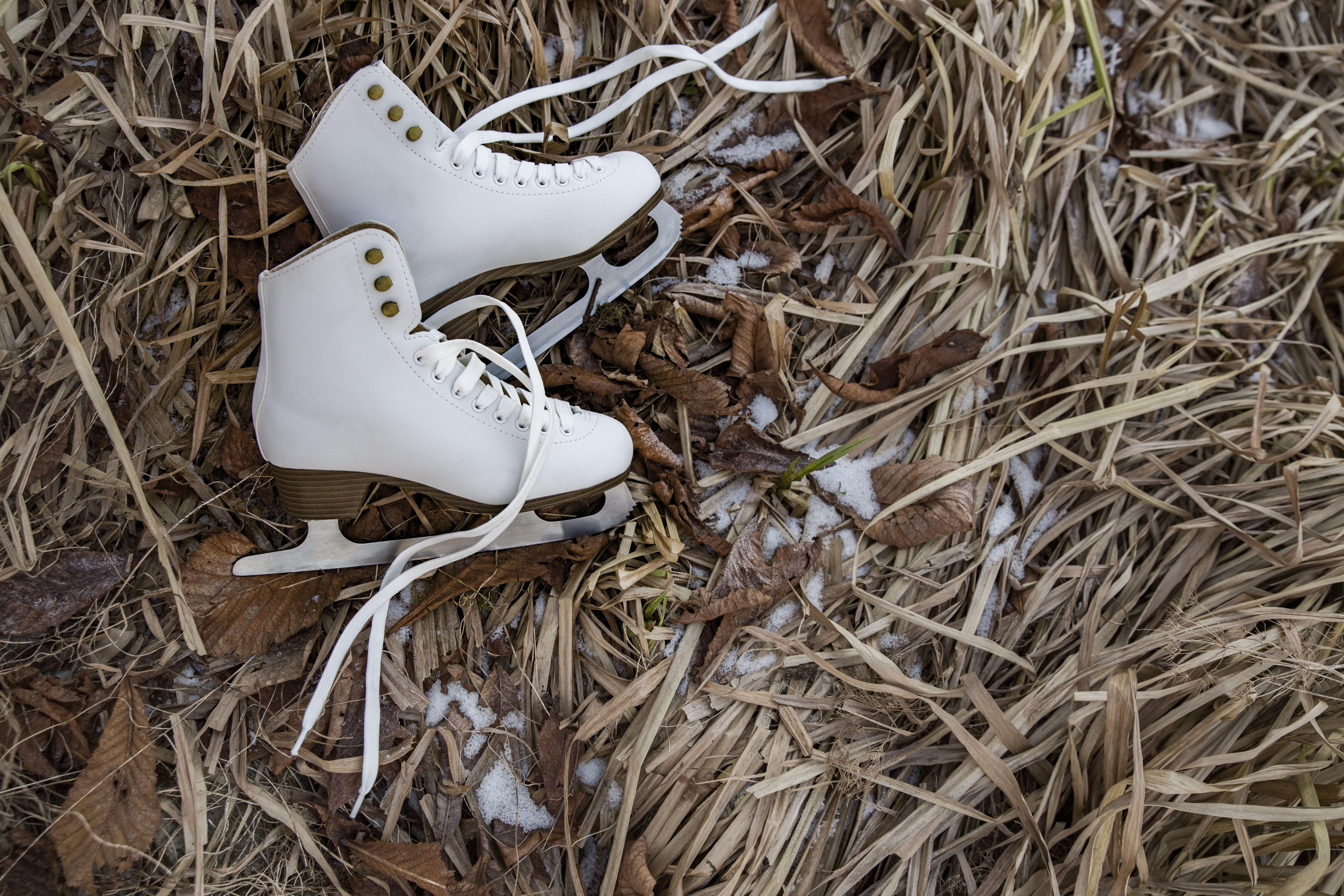 Ice skates lying in icy weeds