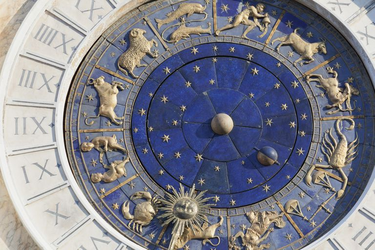 Zodiac detail of clock on the Torre dell' Orologio in St. Mark's Square in Venice