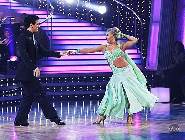 Olympic gymnast Shawn Johnson does the foxtrot on Dancing with the Stars on March 23