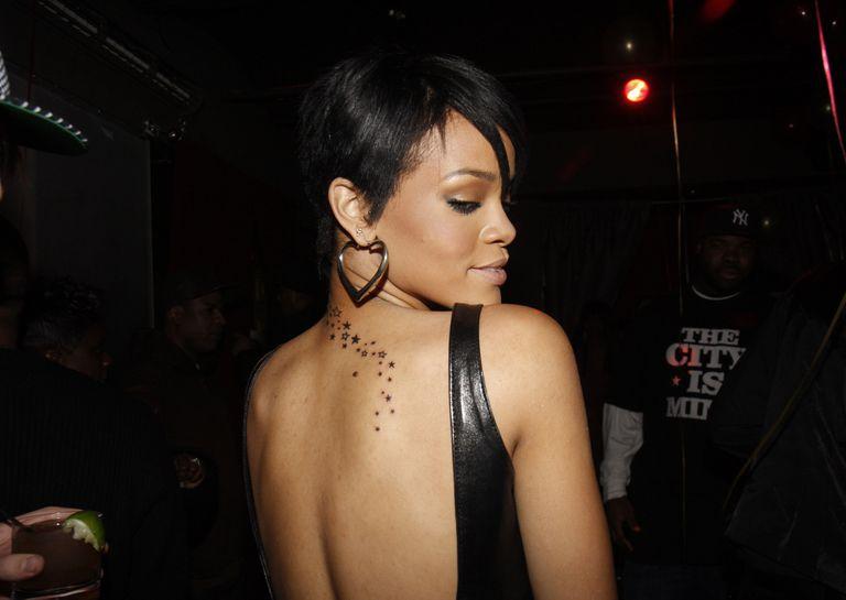 Rihanna and her back tattoo