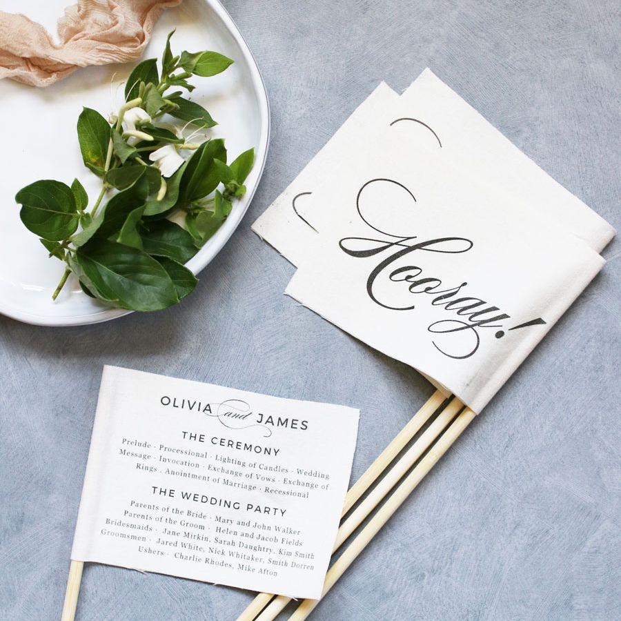 A wedding program template on a flag
