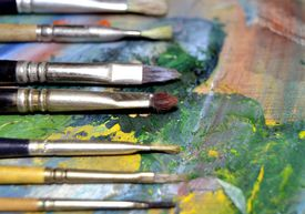 An artist's paint brushes