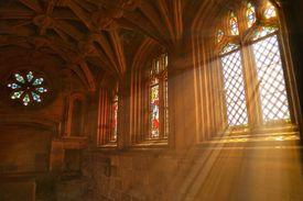 Sunlight streaming through church window