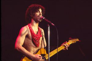 American musician Prince (1958 - 2016) plays guitar as he performs at The Ritz during his 'Dirty Mind' tour - New York City, 1981.