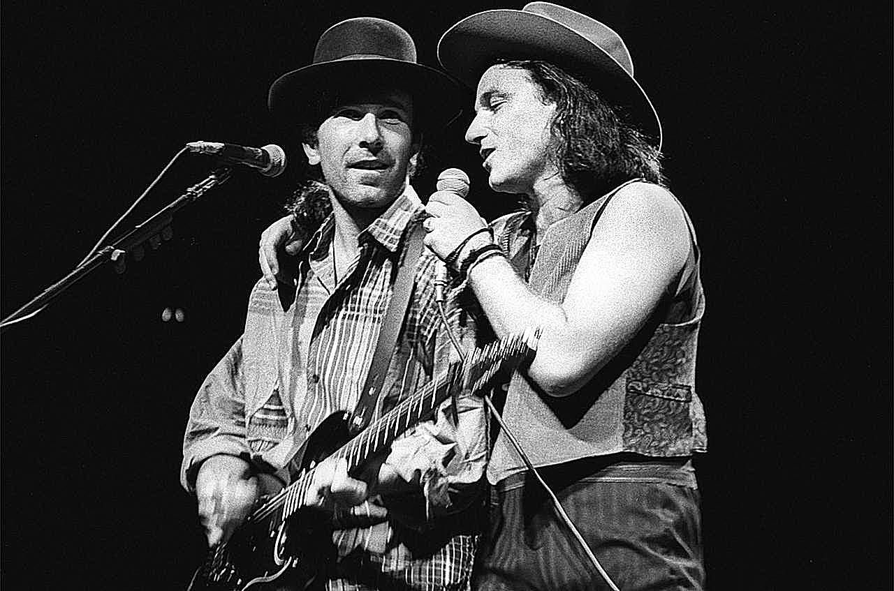 The Edge and Bono of U2 perform on the Joshua Tree Tour at Nassau Coliseum on October 9, 1987 in Uniondale NY.