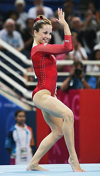 Gymnast Carly Patterson performs on floor at the 2004 Olympics