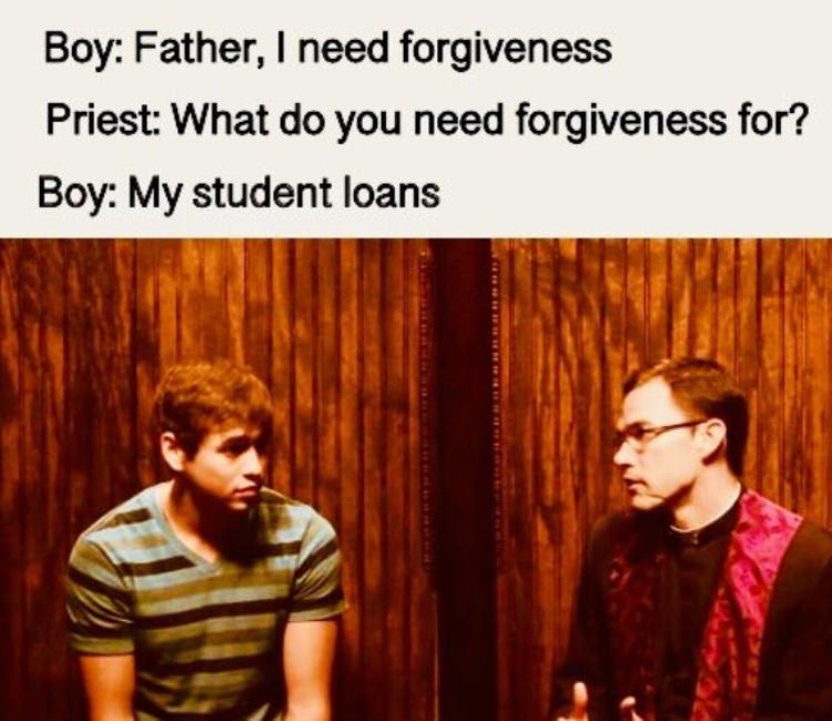 millennial in church asks for forgiveness -- for his student loans