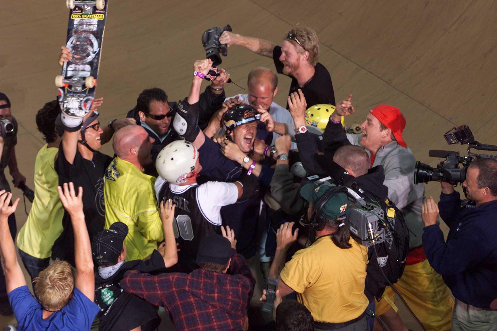 Tony Hawk after record 900 at X Games